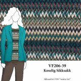 VF206-39 Koselig Sikksakk - Loosely Knit Polyester Blend Fabric in Neutrals with Peacock