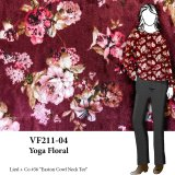 VF211-04 Yoga Floral - Burgundy Printed Velour Fabric