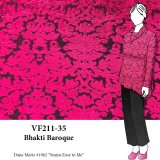 VF211-35 Bhakti Baroque - Cerise Velvet Burn-out on Black Knit Fabric
