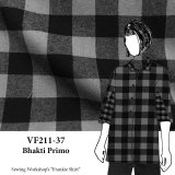VF211-37 Bhakti Primo - Grey and Black Large Buffalo Check on Soft Cotton Flannel Fabric