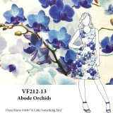 VF212-13 Abode Orchids - Blue Floral Printed Linen Fabric