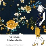 VF212-19 Heirloom Jardin - Gold Floral on Navy Bubble Crepe Georgette Fabric