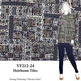VF212-24 Heirloom Tiles - Navy and Orange Geometric Printed Crinkled Rayon Fabric