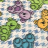 Polar Fleece Print - Blue Houndstooth Bears