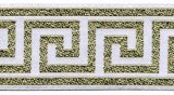 "Wholesale Greek Key Jacquard Trim - White with Metallic Gold - 1.5"" wide -  25 yard spool"