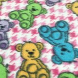 Polar Fleece Print - Pink Houndstooth Bears