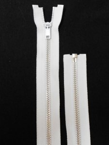 "Separating Zipper - 80"" For Coat Lining - White-Silver"