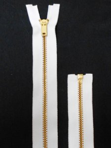 "Separating Zipper - 80"" For Coat Lining - White-Brass"
