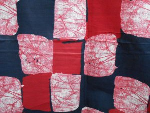 African Print Cotton Fabric - Red Blocks #10