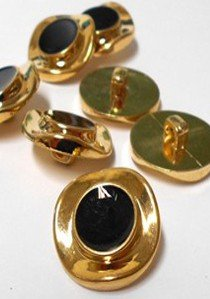 "Wholesale Button - Gold with Black Ripple Plastic Shank Button #57 - Black-Gold - 25mm - 1""  1 Dozen (12)"