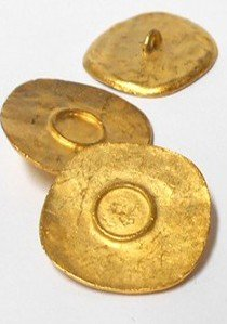 "Novelty Button - Large Metal Hammered Style Shank Button - 32mm x 34mm - Gold 1.25""x1.375"""