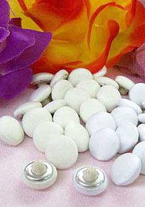 Bridal - Covered Buttons, Polyester Satin Buttons Tuft back - Size 18, 11mm - White