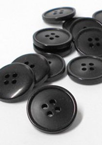"Wholesale Button - Flat Jacket or Coat Button - 21mm - Black 7/8"" - 1 Dozen (12)"