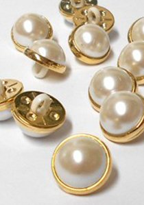 "Wholesale Button - Dome Plastic Pearl Shank Button #20 - 15mm - Gold-Pearl   5/8""  1 Dozen (12)"