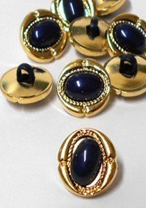 "Wholesale Button - Dark Navy Dome Oval Plastic Shank Button #21 - 15mm  - Gold-Dark Navy  5/8""  1 Dozen (12)"