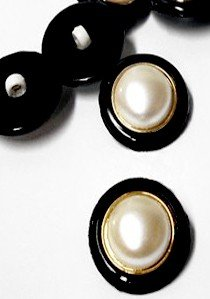 "Wholesale Button - Pearl Dome Plastic Shank Button #22 - 22mm - Gold-Dark Navy-Pearl   7/8""  1 Gross (144)"