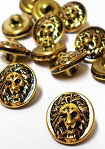 "Wholesale Button - Lion Face Metal Shank Button Small #82 - Gold Black - 15mm - 5/8""  1/2 Gross (72)"