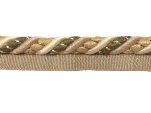Twisted Cord with Lip #28 - For Home Decor and Upholstery - Beige with Olive