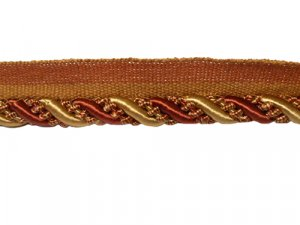 Twisted Cord with Lip #401 - For Home Decor and Upholstery - Rust with Gold