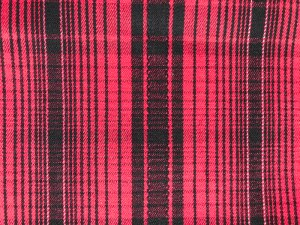 Cotton Plaid Stretch Suiting Fabric - Red-Black