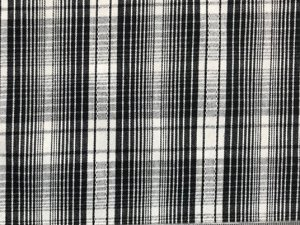 Cotton Plaid Stretch Suiting Fabric - White-Black