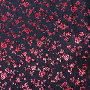 Coutil - Black and Red Brocade Corseting Fabric