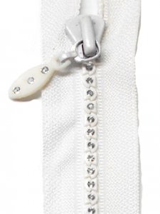 Lorna - 14 inch Separating Crystal Zipper - Jacket Zipper - White with Silver Crystals