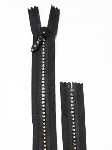 Lorna Crystal Zipper - 22 inch Closed Bottom - Dress Zipper - Black with Silver Crystals