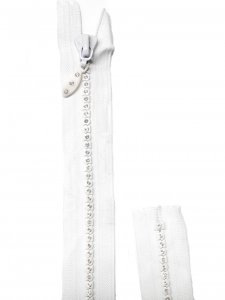 Lorna Crystal Zipper - 22 inch Closed Bottom - Dress Zipper - White with Silver Crystals