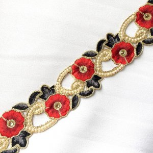 Sofia Metallic Beaded Trim - N22219 Red-Black - 2.25 inches wide