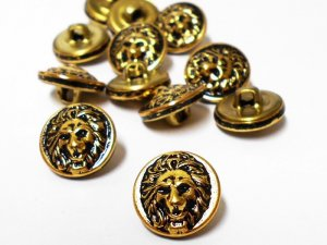 Fancy Metal Shank Button in Lion Face and Mane - Gold and Black