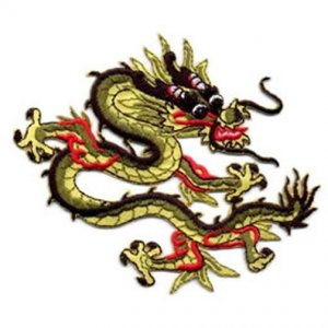 Chinese Dragon applique - black