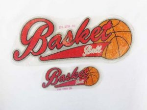 Caviar Beaded Appliques- Small Basketball Red #2792-25