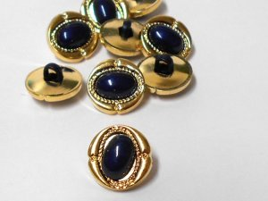 Black Dome oval plastic buttons - Gold and Black