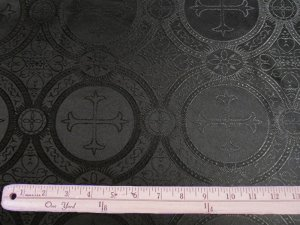 Church Brocade - Black, view with ruler