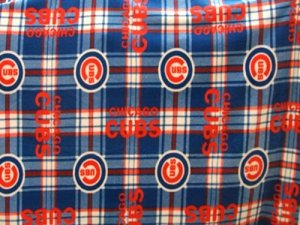 Cubs Plaid Polar Fleece Fabric #6612 - full width view