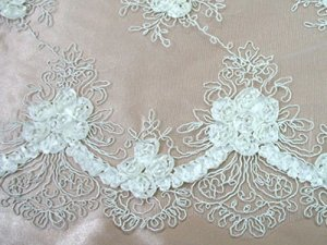 Double Border Rosette Netting - White