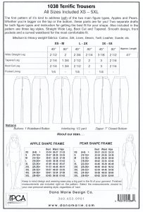 Dana Marie - Terrific Trousers pattern - yardage chart