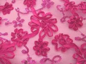 Envy Sequin Ribbon Embroidered Netting - Fuchsia