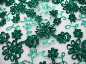 Envy Sequin Netting - Ribbon Embroidered Tulle - Teal