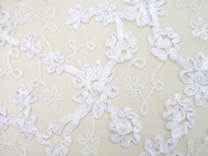 Envy Sequin Netting - Ribbon Embroidered Sequin Tulle Fabric - White