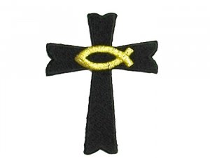 Cross with Ichthus (Fish) #22315 - Black Gold Metallic