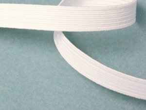 Flat Braided Elastic White 3/8""