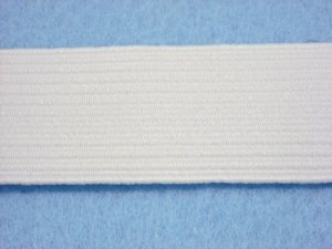 Flat Braided Elastic White 1 1/4""