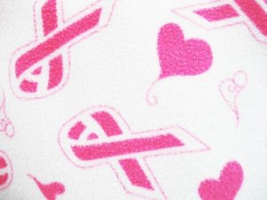 Fleece Prints - Pink Ribbons with Hearts