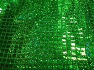 Faux Sequin Knit - Hologram Squares - Green