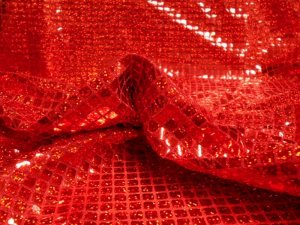 Faux Sequin Knit - Hologram Squares - Red