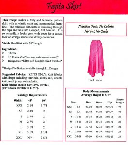 LJ Designs Fajita Skirt back view and yardage charts