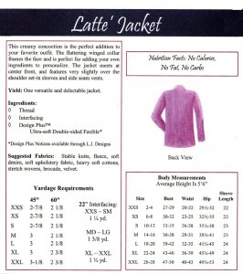 LJ Designs Latte Jacket back view and yardage charts