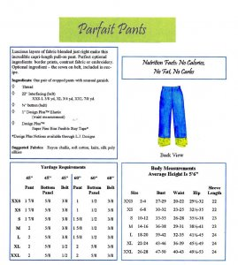 LJ Designs Parfait Pants back view and yardage charts